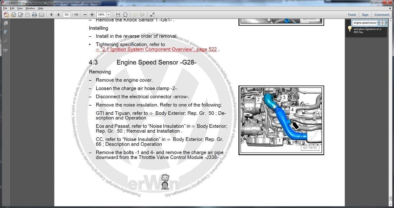 Help Need How To On Changing The Crankshaft Position Sensor Vw 2007 Gti Fsi Engine Diagram Speedsens1